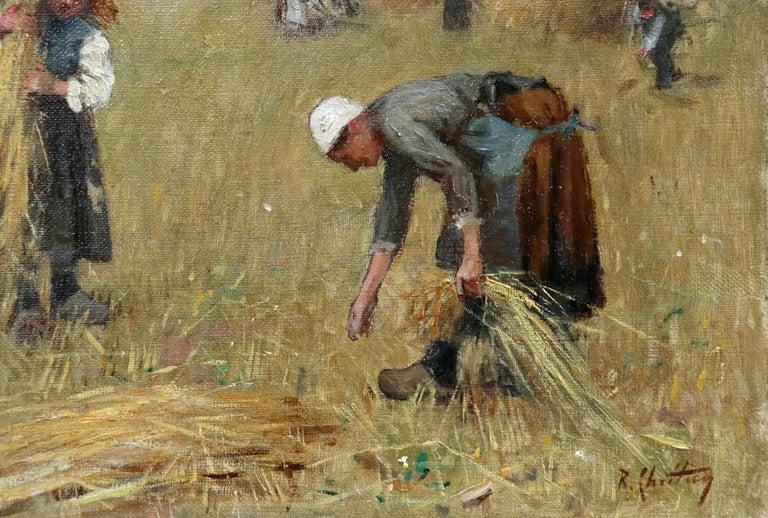 Harvesting - 19th Century Oil, Figures in Landscape by Rene Louis Chretien 2
