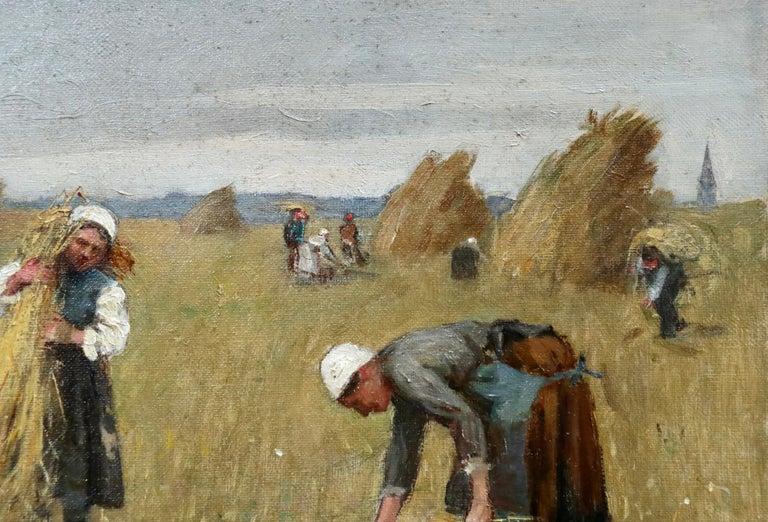 Harvesting - 19th Century Oil, Figures in Landscape by Rene Louis Chretien 3