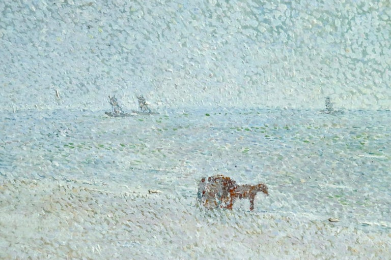 Oil on board by Dutch artist Gerard Victor Alphons Roling. The painting depicts boats at sea as a horse pulling a cart travels along the shoreline. Signed, dated and titled lower right.  Gerard Victor Alphons (Gé) Röling was a Dutch painter and