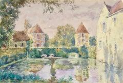 Le Jardin de l'oncle Dincq - Douai - 19th Century Watercolor, Landscape - Duhem
