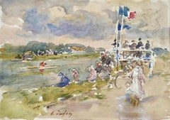 Bastille Day - Douai 1929 - 19th Century Watercolor, Figures by River by H Duhem