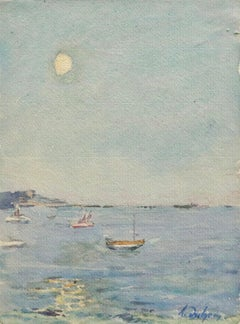 La Mer - 19th Century Watercolor, Boats in Blue Seascape by Henri Duhem