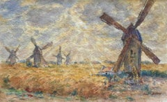 Les Moulins - 19th Century Watercolor, Windmills in Landscape by Henri Duhem