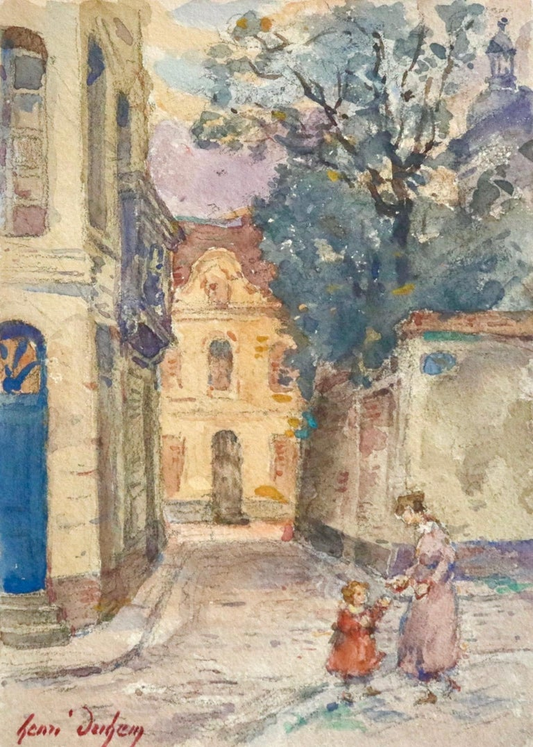 A lovely watercolour on paper circa 1925 by Henri Duhem depicting a mother engaging with her young daughter in the street in a village. Signed lower left. This painting is not currently framed but a suitable frame can be sourced if