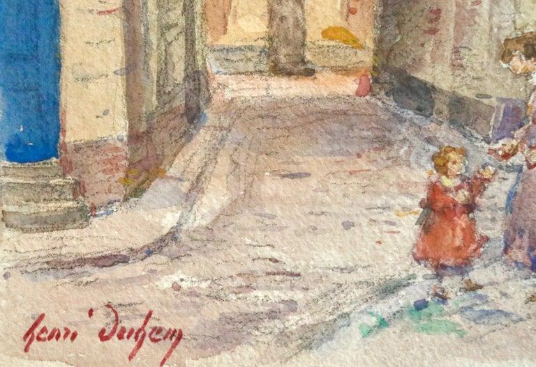 In the Village - Mother & Daughter - Figures in Landscape by Henri Duhem For Sale 1
