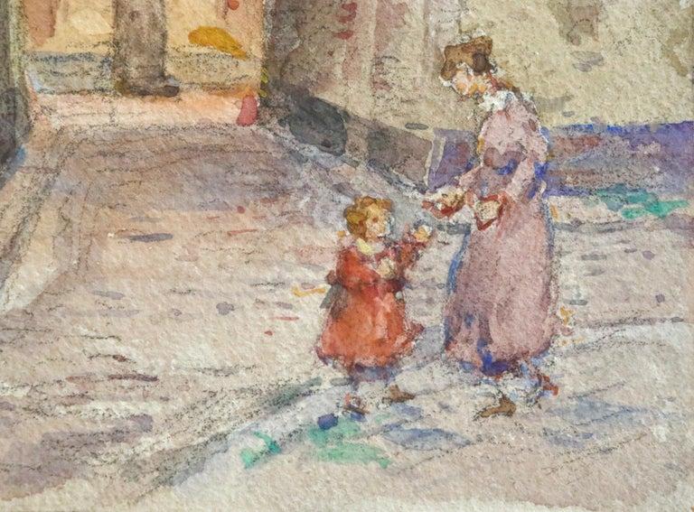 In the Village - Mother & Daughter - Figures in Landscape by Henri Duhem For Sale 2