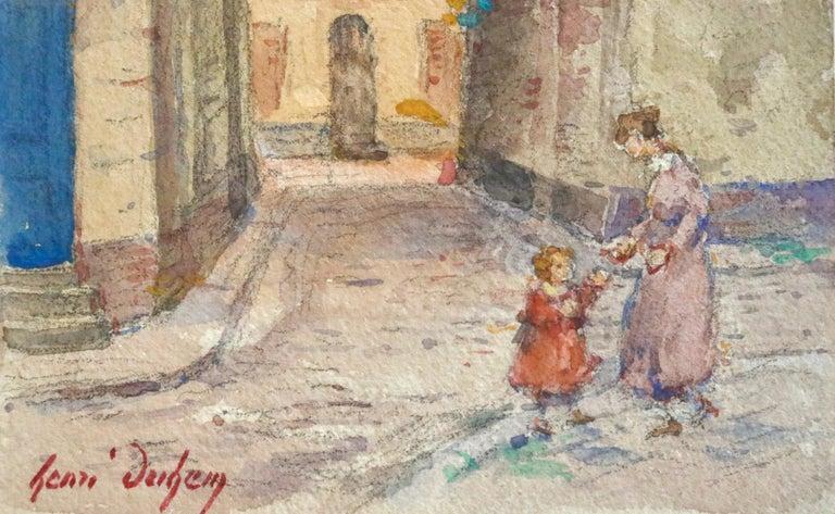 In the Village - Mother & Daughter - Figures in Landscape by Henri Duhem For Sale 3