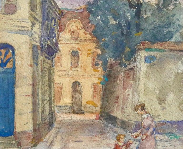 In the Village - Mother & Daughter - Figures in Landscape by Henri Duhem For Sale 4