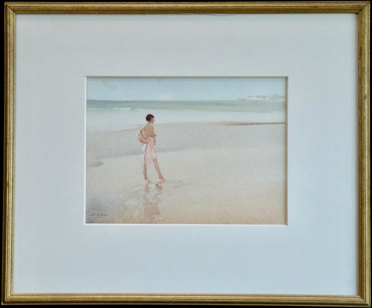 Clarissa Impatient - Watercolor, Nude Figure in Coastal Landscape by W R Flint 2