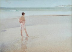 Clarissa Impatient - Watercolor, Nude Figure in Coastal Landscape by W R Flint