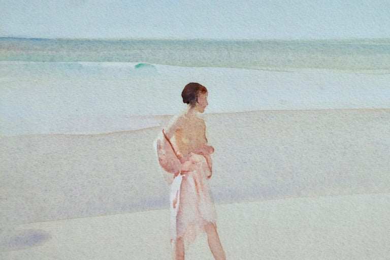 Clarissa Impatient - Watercolor, Nude Figure in Coastal Landscape by W R Flint - Post-Impressionist Art by William Russell Flint