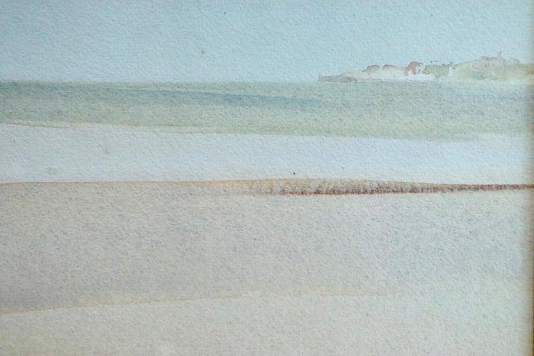 Clarissa Impatient - Watercolor, Nude Figure in Coastal Landscape by W R Flint 4