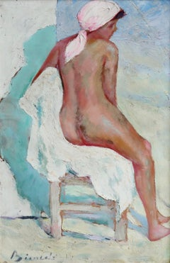 The Beach Tent - Post Impressionist Oil, Seated Nude Woman by Bernardo Biancale
