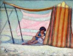 Mere et enfant sur la plage - Post Impressionist, Figures on Beach - B Biancale