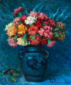 Fleurs - Post Impressionist Oil, Still Life Vase of Flowers by Bernardo Biancale