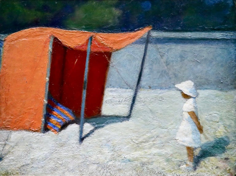 Oil on board by Post Impressionist painter Bernardo Biancale depicting a young girl in a white dress standing by an orange tent at the seaside. Signed lower left and titled verso. Framed dimensions are 27 inches high by 33 inches wide.  Provenance: