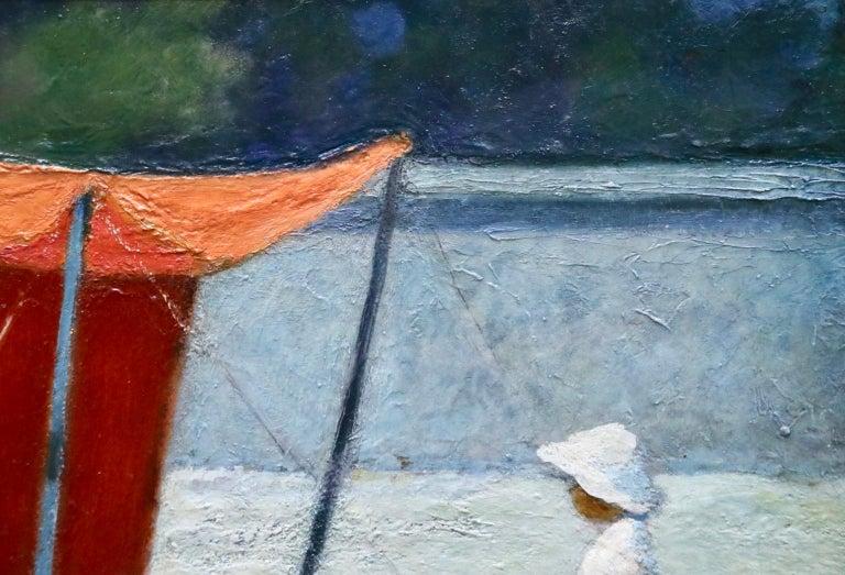 Le Tente Orange - 20th Century Oil, Girl at Beach Landscape by Bernardo Biancale For Sale 2