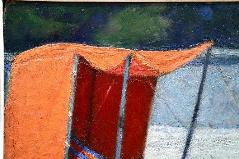 Le Tente Orange - 20th Century Oil, Girl at Beach Landscape by Bernardo Biancale For Sale 3
