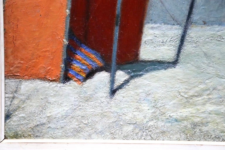 Le Tente Orange - 20th Century Oil, Girl at Beach Landscape by Bernardo Biancale For Sale 4