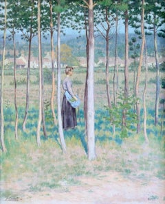 Été Ombres - 19th Century Oil, Figure in Trees Landscape by Pierre Leon Cassard