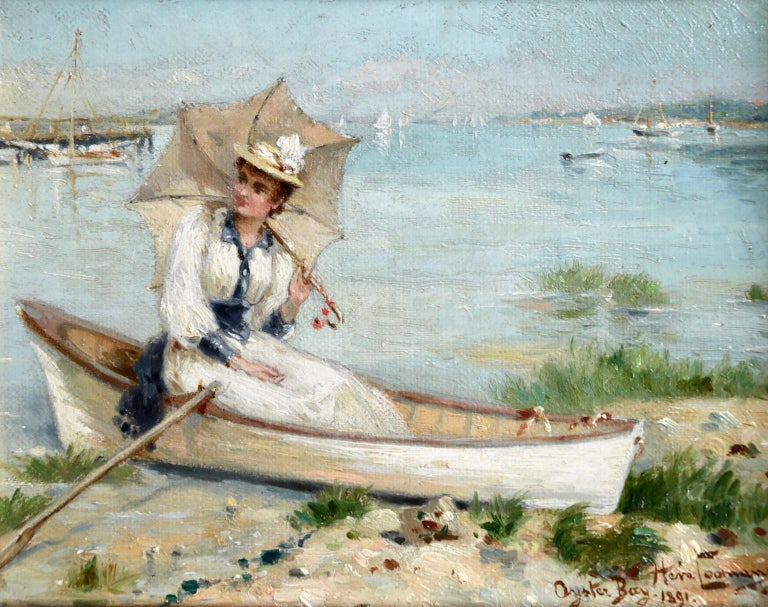 Oyster Bay, Long Island - 1891 - 19th Century Oil, Figure in Boar - Heva Coomans - Painting by Heva Coomans