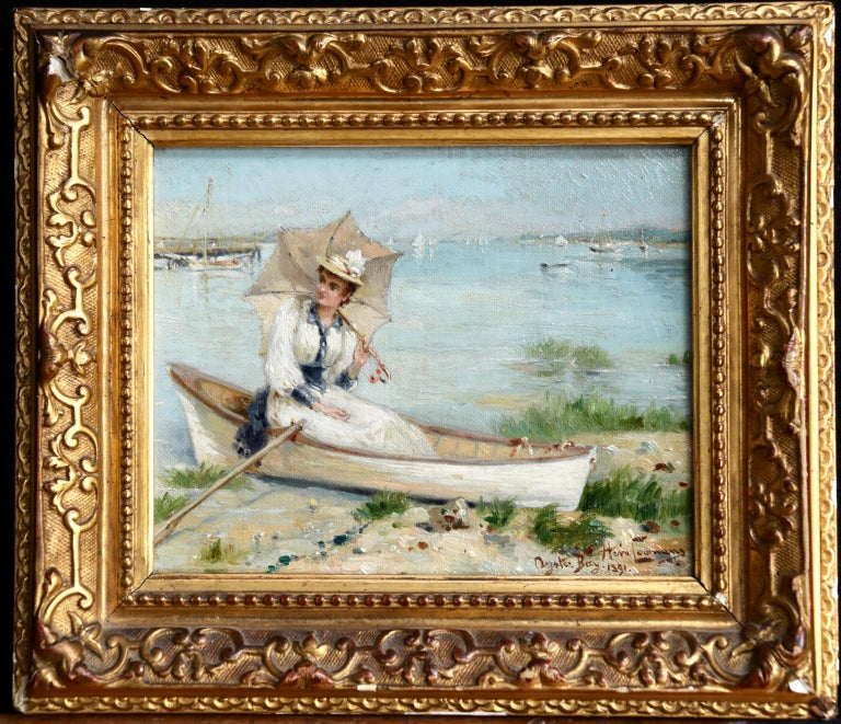 Oyster Bay, Long Island - 1891 - 19th Century Oil, Figure in Boar - Heva Coomans - Impressionist Painting by Heva Coomans