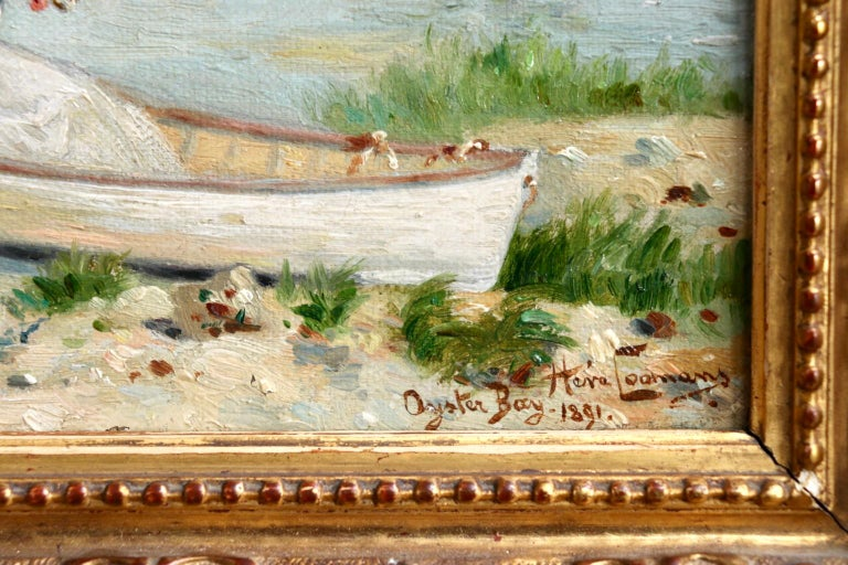 Oyster Bay, Long Island - 1891 - 19th Century Oil, Figure in Boar - Heva Coomans For Sale 1