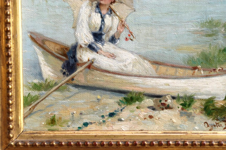 Oyster Bay, Long Island - 1891 - 19th Century Oil, Figure in Boar - Heva Coomans For Sale 2