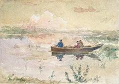 Pêche dans l'Étang - French Impressionist Watercolor, Fishing by Henri Duhem