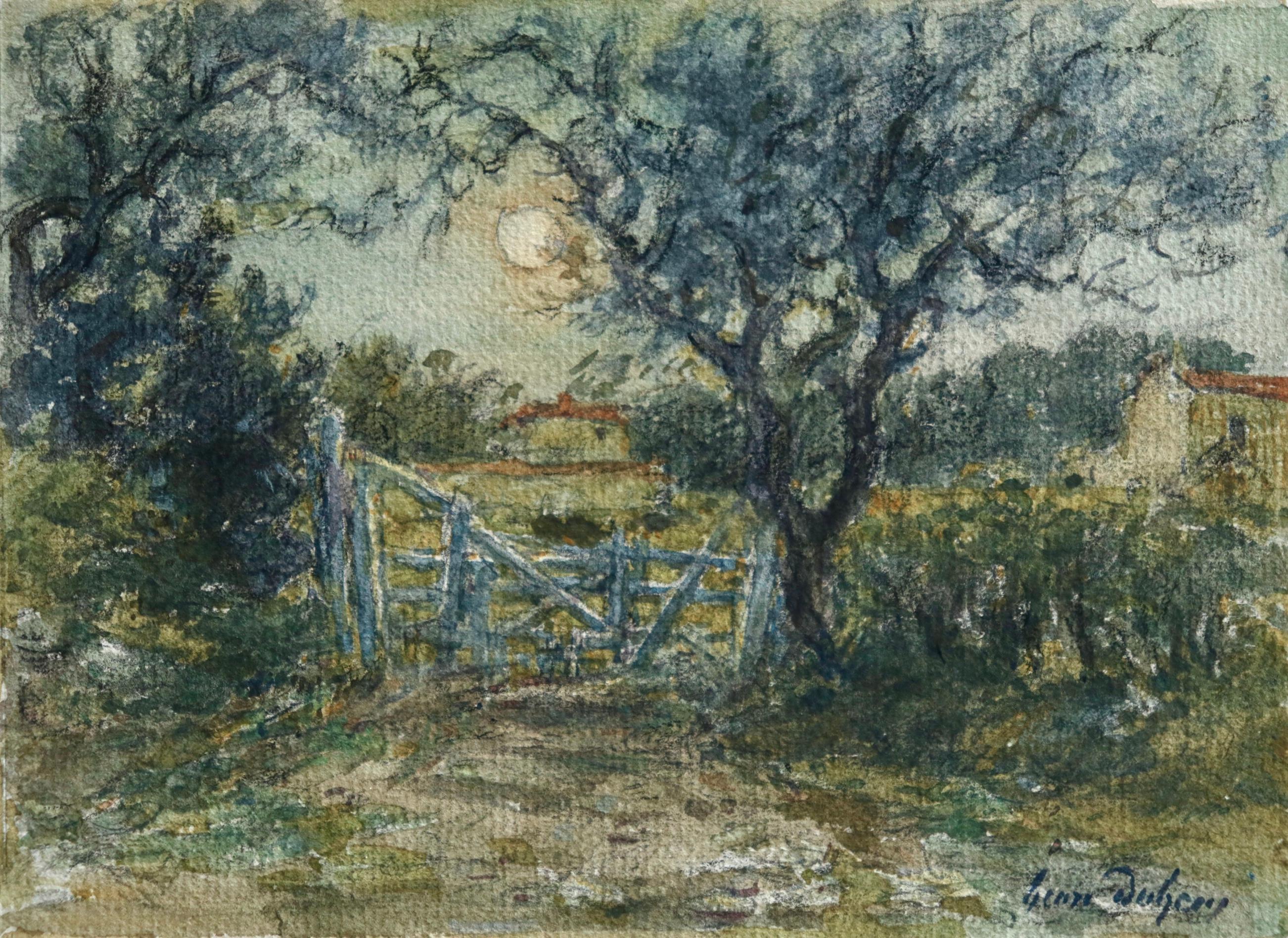 La Porte - French Impressionist Watercolor, Landscape by Moonlight - Henri Duhem