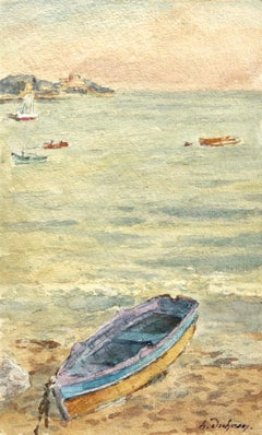 Bateau à Antibes - French Impressionist Watercolor, Boat in Seascape by H Duhem