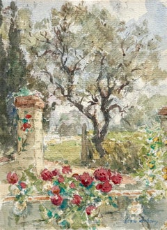 Roseraie - French Impressionist Watercolour, Flowers in Landscape by Henri Duhem