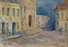 La ville la nuit - French Impressionist Watercolor, Town at Night by H Duhem