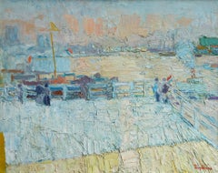 Port D'Amsterdam - 20th Century Oil, Figures in Coastal Landscape by J Truphemus