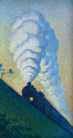 The Train - 19th Century Oil, Steam Train in Night Landscape by Louise Thuillier