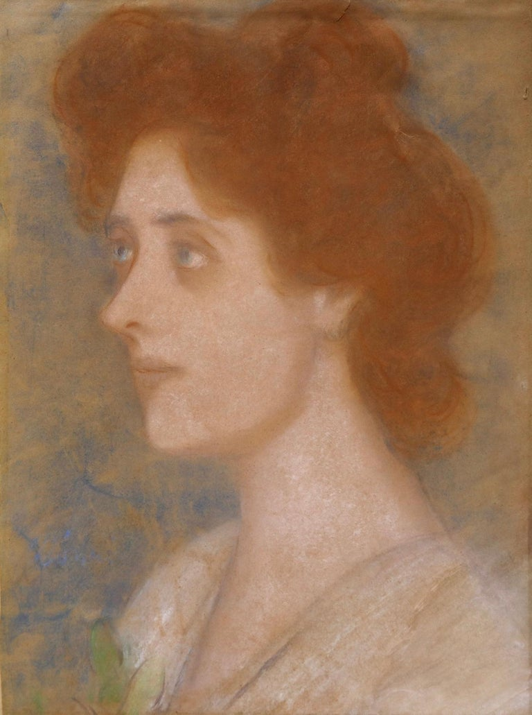 A wonderful pastel on paper drawing circa 1925 by Hungarian artist, Jozsef Rippl-Ronai. This work depicts the artist's lover of 10 years - Zorka Banyai - known also as Elsa Banyai which was her christened name. Ronai met Zorka in 1915 whilst she was