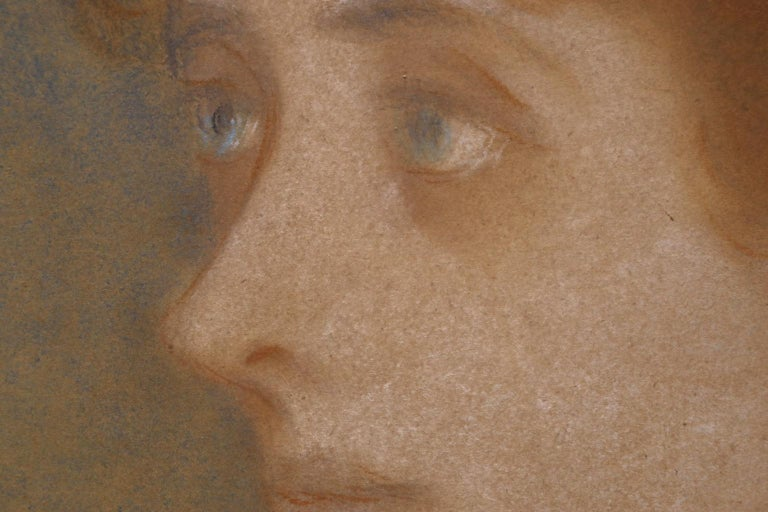 Portrait of Zorka Banyai - Impressionist Pastel of Woman by Jozsef Rippl-Ronai For Sale 1