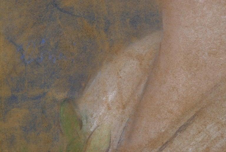 Portrait of Zorka Banyai - Impressionist Pastel of Woman by Jozsef Rippl-Ronai For Sale 3