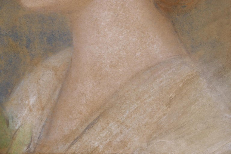 Portrait of Zorka Banyai - Impressionist Pastel of Woman by Jozsef Rippl-Ronai For Sale 4