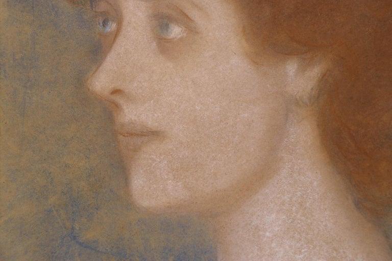 Portrait of Zorka Banyai - Impressionist Pastel of Woman by Jozsef Rippl-Ronai For Sale 6