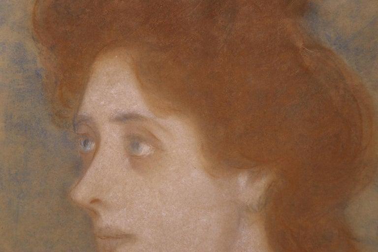 Portrait of Zorka Banyai - Impressionist Pastel of Woman by Jozsef Rippl-Ronai For Sale 7