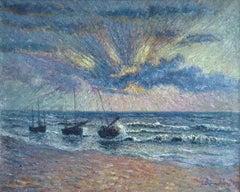 Coucher de Soleil - St Guenole, Brittany - Impressionst Oil, Seascape by B Klene