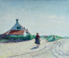 Young Girl in the Dunes - Impressionist Oil, Figure in Landscape by B H Klene