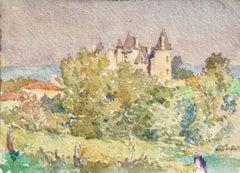 Maison dans le paysage - Impressionist Watercolour, Landscape by Henri Duhem