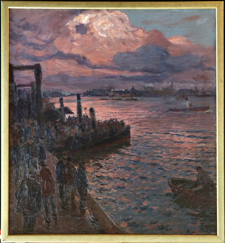 Waiting for the Ferry - Hamburg - Impressionist Oil, River at Night - Kallmorgen - Painting by Friedrich Kallmorgen