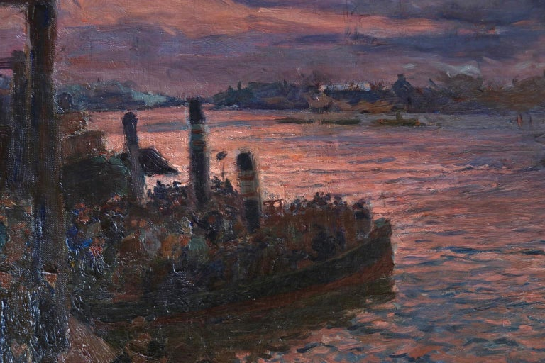 Waiting for the Ferry - Hamburg - Impressionist Oil, River at Night - Kallmorgen 3