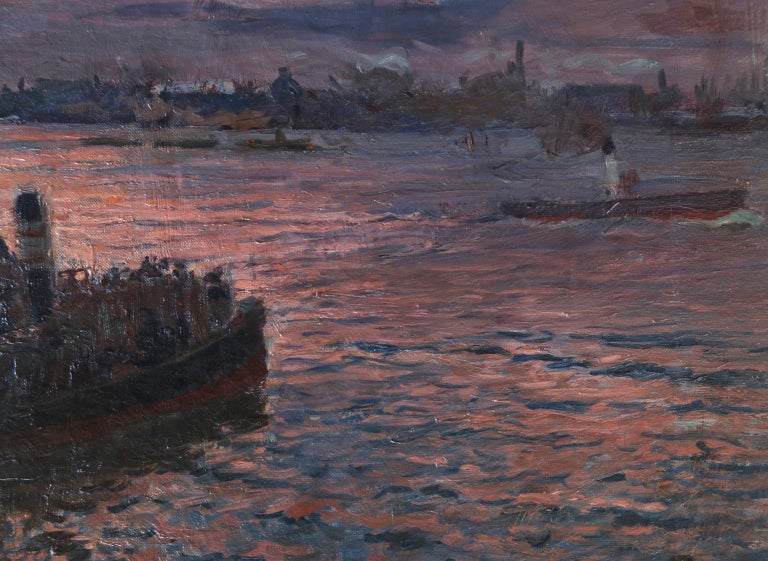 Waiting for the Ferry - Hamburg - Impressionist Oil, River at Night - Kallmorgen 4