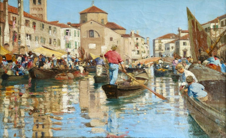 Chioggia - Venice - Impressionist Oil, Figures in Canal Landscape - Alfred Smith - Painting by Alfred Smith