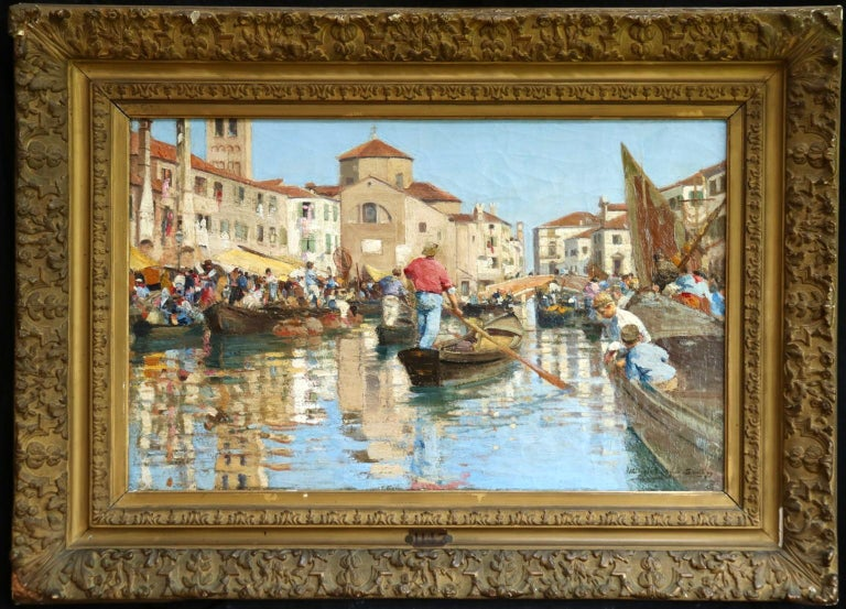 A lovely painting by French painter Alfred Smith depicting a bustling scene of people sailing down the canal in Venice in gondola's enjoying the summer sun. Signed, titled and dated 1897 lower right.   Dimensions: Unframed: 18
