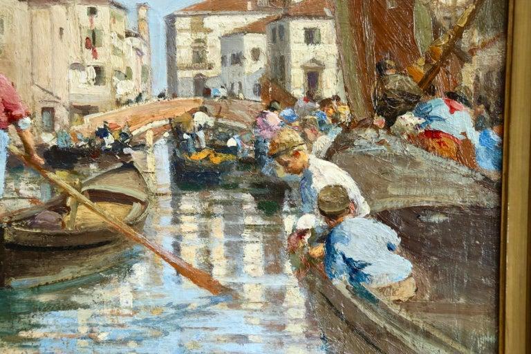 Chioggia - Venice - Impressionist Oil, Figures in Canal Landscape - Alfred Smith For Sale 1